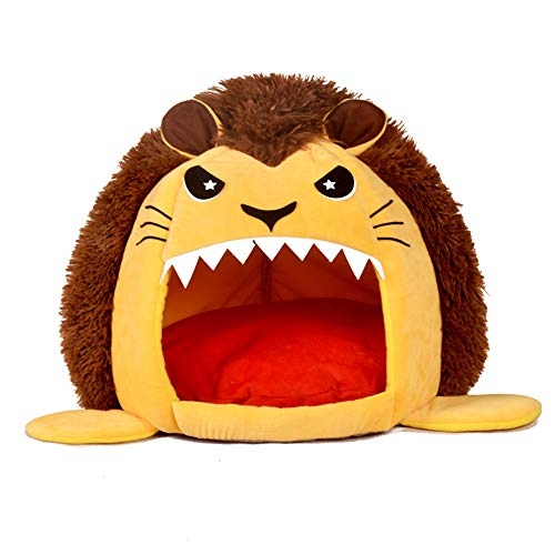 DZT1968  Super Soft Cartoon Lion Design Cat Bed Kennel, Fills Extra Thick 100% Filler -Comes with Soft & Comfortable Mat -Doghouse (Yellow) -