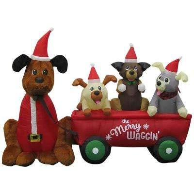 Home Accents 6.99' Pre-lit LED Puppy Wagon Scene, Inflatable