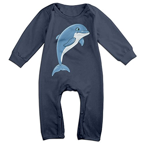 VanillaBubble Dolphin For 6-24 Months Baby Funny Tee Shirt Navy Size 24 Months ()