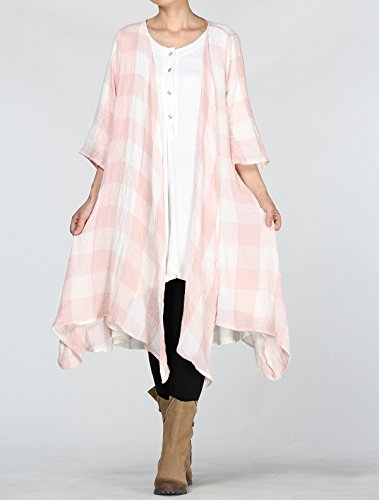 Mordenmiss Women's Classic Open Front Lightweight Soft Drape Cardigan (L (Fit US 16-20), 3/4 Sleeve-Light Pink) by Mordenmiss (Image #3)