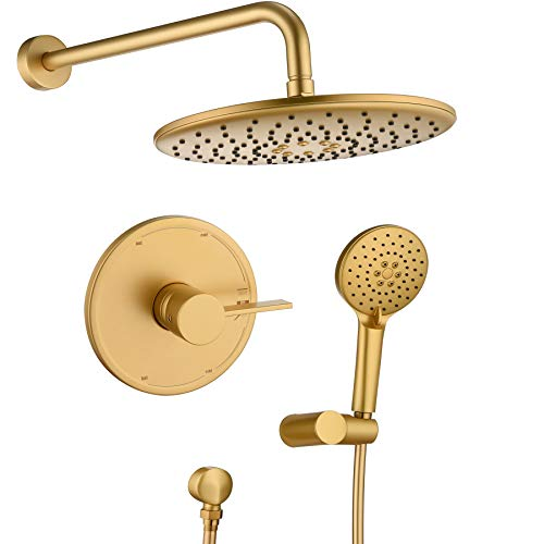 SOOOHOT Rain Shower System with 10 Inch Shower Head and Handheld Bathroom Wall Mounted Shower Set Contain Shower Faucet Mixer Trim Kit (Round10″showerhead, Champagne Gold)