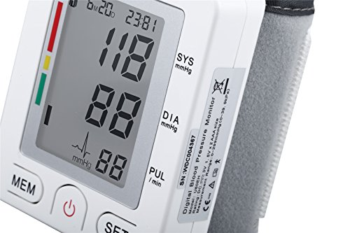 Fam-health Automatic LCD Digital Wrist Monitor with Heart Rate Detection-90 groups memory-large Cuff Adjusts-Time and Date with Memory Store last Readings, FDA Certified White by Fam-health (Image #1)