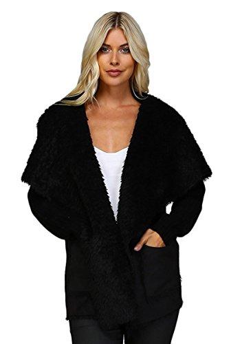 ARIS Ultra Soft Cozy Chic Shearling Sherpa Faux Suede & Knit Cardigan Sweater Bundle: Jacket & Storage Bag (Small/Medium, ()