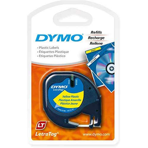 DYMO LetraTag Labeling Tape for LetraTag Label Makers, Black Print on Yellow Tape, 1/2'' W x 13' L, 1 roll (91332) - Yellow Labeling Tape