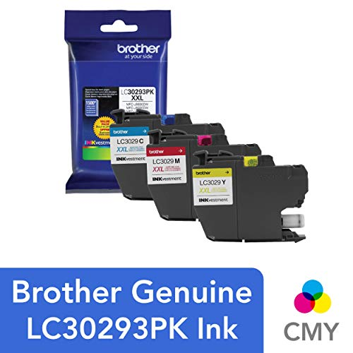 (Brother LC3029 Color C/M/Y Ink Cartridges (LC30293PKS), Super High Yield, 3/Pack)