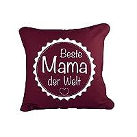 Klebefieber Dekokissen Beste Mama der Welt B x H: 40cm x 40cm Farbe: bordeaux