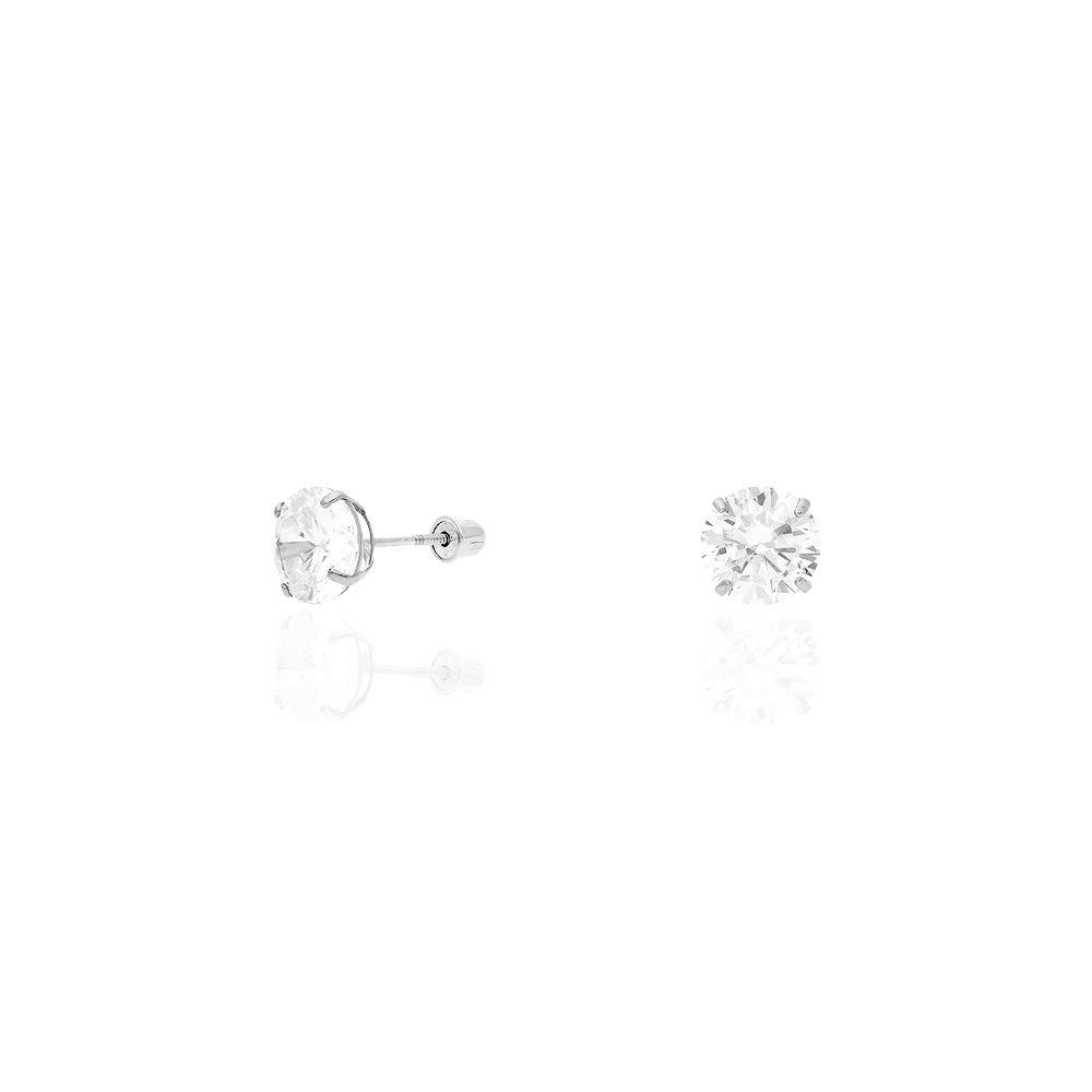14k White Gold Created Diamond Stud Screw Back Earrings 0.10Ct-4Ct