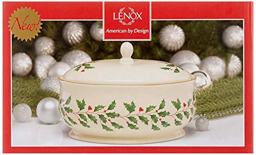 (Lenox Holiday Large Covered Serving Dish,Ivory China 24 k Gold rim Capacity: 64 oz. 9