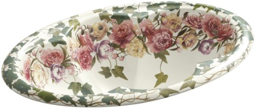 Kohler K-14270-PS-96 Peonies & Ivy Design on Cantata Self-Rimming Lavatory, Biscuit