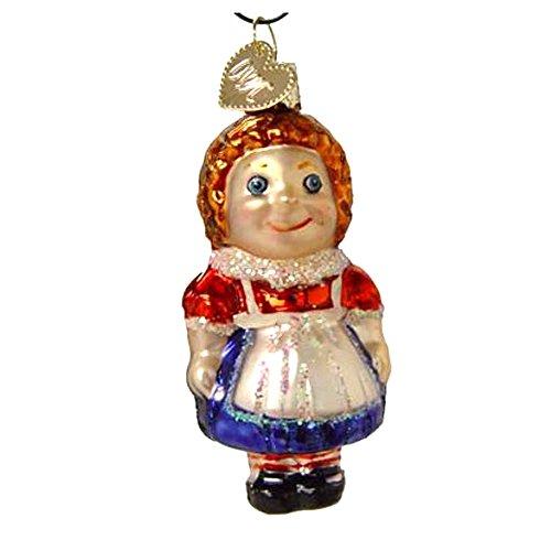 Primitive Raggedy Ann Doll (Miniature Dolly Blue Dress Old World Christmas Ornament 44017)
