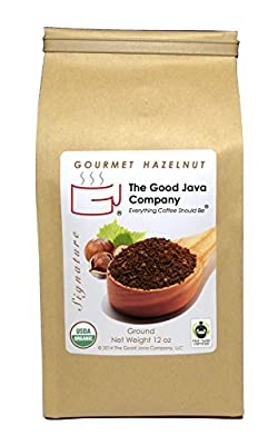 The Good Java Company - Gourmet Hazelnut USDA Organic Fair Trade Small Batch Roasted Coffee (Ground) 12oz