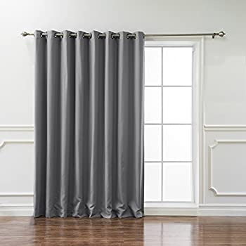 Best Home Fashion Wide Width Thermal Insulated Blackout Curtain   Antique  Bronze Grommet Top   Grey