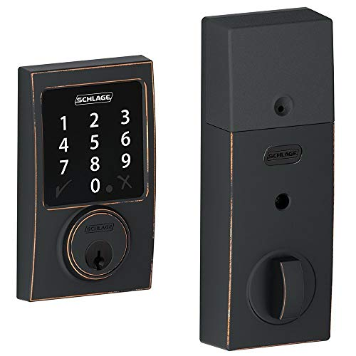 (New Model) Schlage Connect Century Touchscreen Deadbolt with Z-Wave Technology and Extra Key BE468 (Aged Bronze)