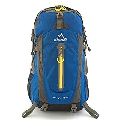 MISSION PEAK GEAR Canyon 2400 40L Hiking Daypack Backpack, Backpacking Trekking School Bag, Removable Air Mesh Frame Suspension, Ripstop Nylon, Waterproof Rain Cover, Climbing, Camping, Hiking, Travel