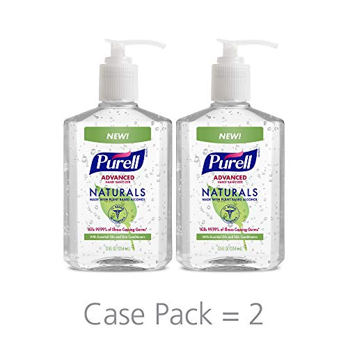 PURELL NATURALS Advanced Hand Sanitizer Gel, with Skin Conditioners and Essential Oils, 12 fl oz Counter Top Pump Bottle (Pack of 2) - -