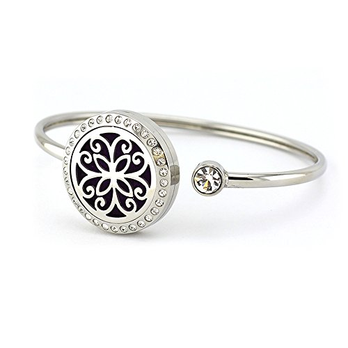 AZORA Flower Aromatherapy Essential Oils Diffuser Bracelet Stainless Steel Metal Mesh Locket Bangle Jewerlry