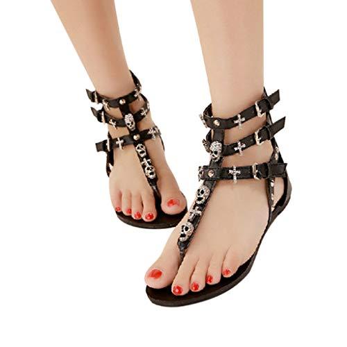 Women Bohemia Clip Toe Flip Flops Boho Human Skeleton Low Wedge Beach Sandals 2019 New Ladies Summer Sandals ()