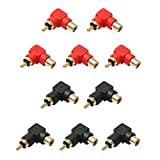 Comidox 10PCS RCA Male to RCA Female Right Angle Connector Plug Adapters M/F Audio AV Converter 90 Degree Elbow Gold-Plated Black/Red