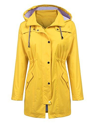 LOMON Women Raincoat Lightweight Waterproof Trench Coat Hoodie Outerwear Jackets Casual Long rain Jacket Plus Size Yellow XL Belted Lined Trench Coat