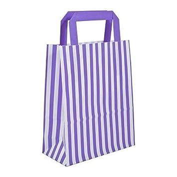 b9a2e61ea 30 x Purple Candy Stripe Paper Carrier Bags with Flat Handles - 25cm x 30cm  x 14cm - WECANSOURCEIT: Amazon.co.uk: Toys & Games