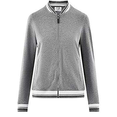 oodji Ultra Women's Jersey Bomber Jacket with Zipper at Women's Clothing store