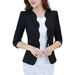 LATUD Women Clothes Women's One Button Slim Fit Casual Office Swing Blazer Suit Jacket Coat Black US 12 = Tag 3XL