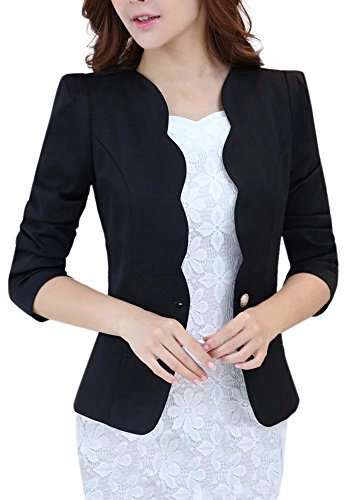 Women's One Button Slim Fit Casual Office Swing Blazer Suit Jacket Coat Black US 6=Tag XL