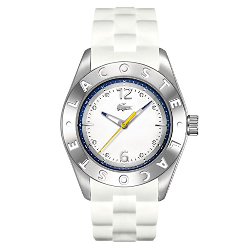 Lacoste Biarritz Three-Hand Silver and White Silicone Women's watch #2000751