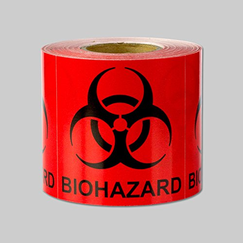 "Biohazard Warning Labels Self Adhesive Stickers (Red Black / 2"" x 2"") - 300 labels per package"