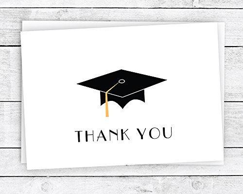 Graduation Thank You Cards (Graduation Cap with Colored Tassel Thank You Cards - 24 Cards & Envelopes (Gold))