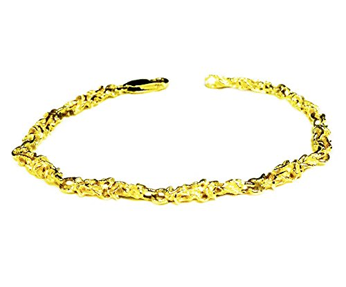 14kt Solid Yellow Gold Handmade Nugget link chain/Bracelet 8