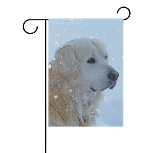 Blue Viper Golden Retriever In The Snow Garden Flag Waterproof Polyester Fabric and Mildew Resistant for Outdoor Lawn and Garden Double Side Print 12 x 18 - Shopping City North Kansas