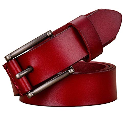 LeNG Fashion women Pin buckle woman belt for jeans Cowskin strap,105cm,Red by LeNG Apparel-belts