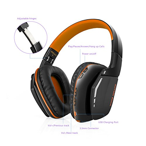 ZSKY Auriculares Bluetooth Gaming Inalámbricos Plegable Auricular de Juegos V4.1 con Micrófono para PS4 PC Mac Smartphones Computadoras(Naranja Negro): ...