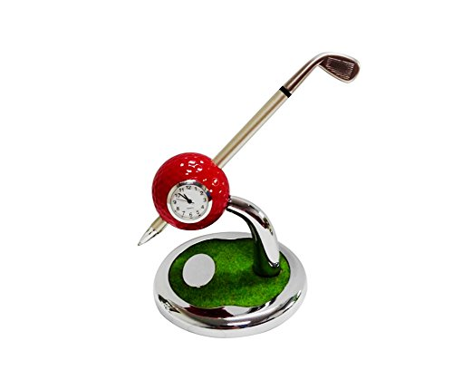 Mini Desktop Golf Ball Pen Stand with Golf Pens and Clock 2-piece Set of Golf Souvenir Tour Souvenir Novelty Gift(red)