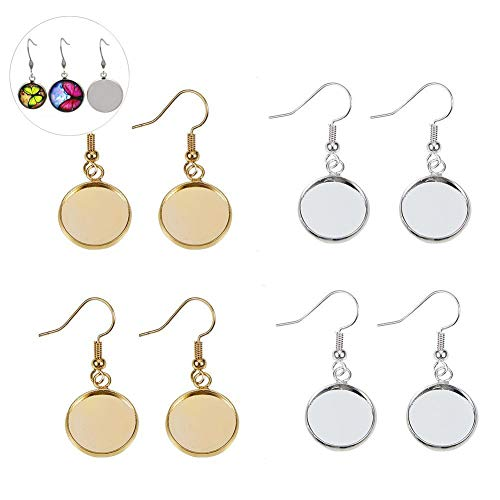 6e4d41a5f PandaHall Elite 40 Pcs Brass Earring Wire Hooks with 14mm Flat Round  Cabochon Settings for Jewelry