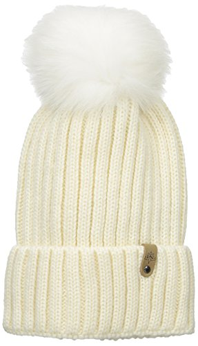 Mackage Women's Mac Wool Acrylic Hat with Fur Pom Pom, Off-White, One Size by Mackage