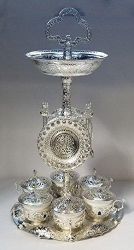 Colección de ropa de lujo 31pc turco griego árabe de café Latte Serving Set con plato y soportes y cucharas y bandeja de...