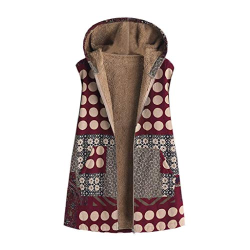 marrone Size Plus Thick Shobdw Hoodie Winter Warm Sleeveless Print Coat Floral Vintage Giacche Tasche Large Women Size Gilet Hqqgw85Tnz