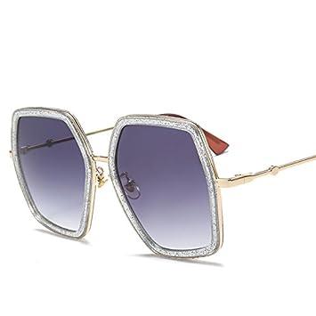 Burenqi Marke Designer Sonnenbrille Frauen Neueste Polygon unregelmäßige Sonnenbrillen Damen Square Big Frame Legierung Sonnenbrille, D