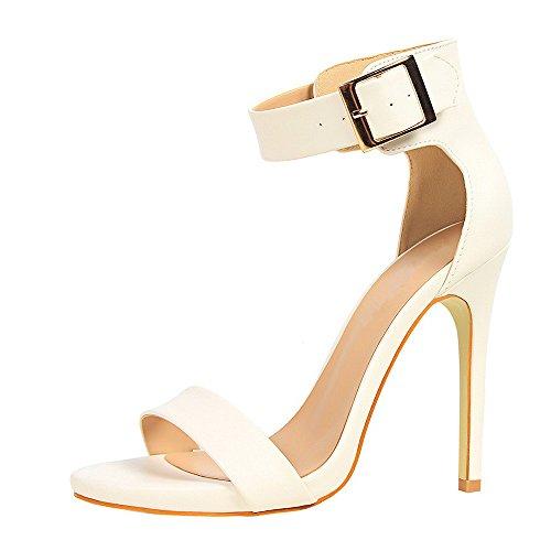 Sandali Eleganti Sexy Estivi Alto Tacco qianchuangyuan Bianco Cinturino Scarpe Alti Donna con Tacco Elegant Caviglia Sandali Estate Lacci d6Zx4ax