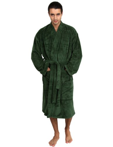 TowelSelections Super Soft Plush Kimono Bathrobe Fleece Spa Robe for Men Medium/Large (Green Mens Robe)