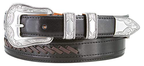 Roped Edge Belt Buckle - Western Cowboy Dress Lacing Leather Belt with Roped Edge Floral Buckle Set (Black, 46)