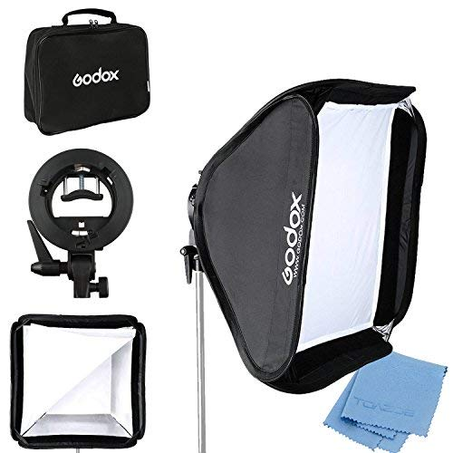 Godox 24''x 24'' 60cmx60cm Foldable Universal Softbox with S Style Speedlite Bracket for Flash Bowens Elinchrom Mount Accessories Direction Adjustable