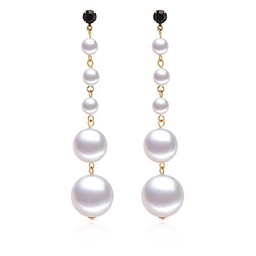 1a34a3ca1 Amazon.com: PANSTAR Long Pearl Drop Earrings, White Simulated Shell Pearls  Stud Earrings, Long Shoulder Drop Earrings-Great Gift for Women: Jewelry