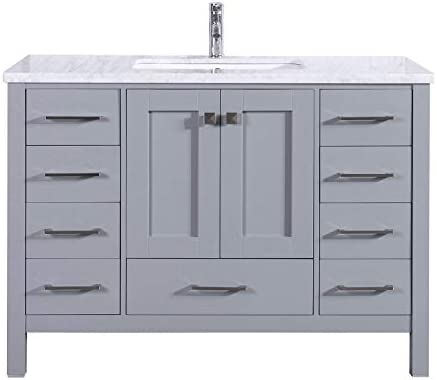 Eviva EVVN412-48GR Aberdeen 48 Transitional Grey Bathroom Vanity with White Carrera Countertop Square Sink, Backsplash Isn t included Combination