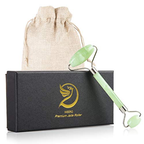 Jade Roller - For Face Massager and Puffy Eyes, 100% Real Jade, Polished Jade Stone Facial Roller With Carrying Bag by Weero