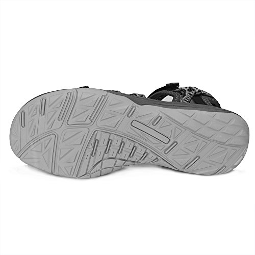 Pictures of GRITION Women Hiking Sandals, Outdoor Girl Sport Summer Flat Beach Water Shoes Open Toe Adjustable Walking Shoes (11 US, Black/Grey) 3