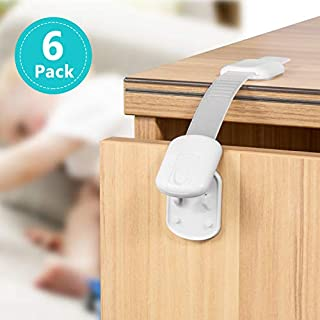 Child Safety Cabinet Locks, 6 Pack Latches with Adjustable Strap for Baby Proofing Cabinets, Drawers, Appliances, Toilet Seat and Fridge - No Drilling with 3M Adhesive Included