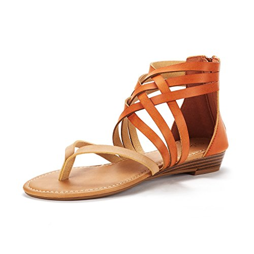 DREAM PAIRS Women's JUULY_02 Nude/TAN Fashion Gladiator Design Ankle Strap Flat Sandals Size 8 M US ()